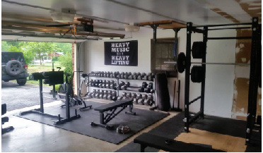 Garage home gym and weight room equipment