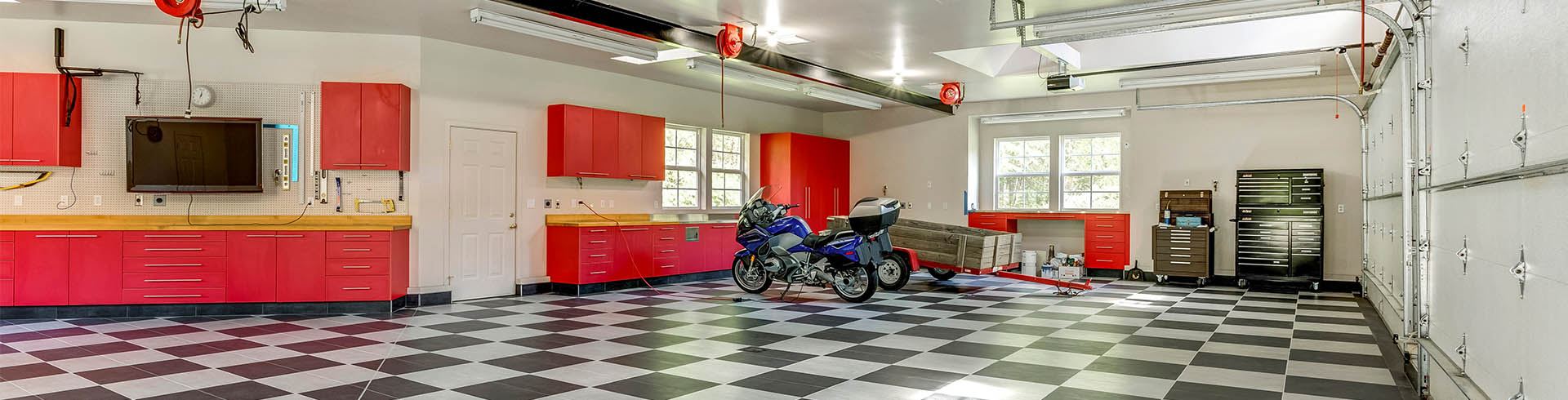 Garage Cabinet System and Checkerboard Garage Floor