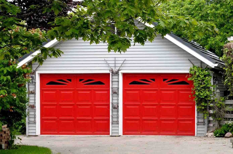 Red Double Garage Doors