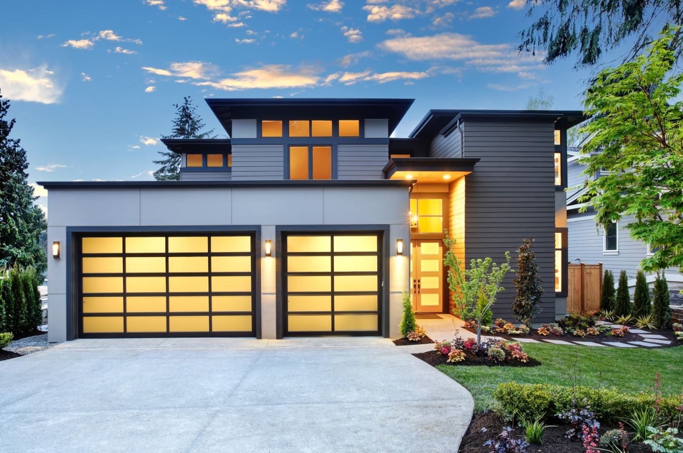 Evening Full View Glass window garage door - Garage Harmony